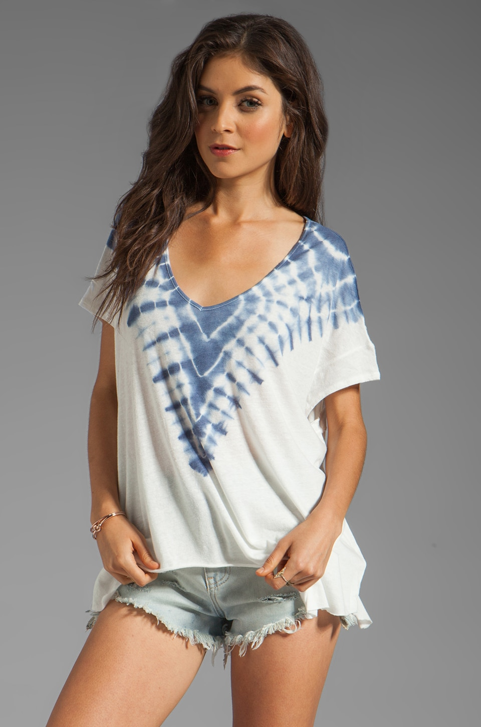 Free People Double Team Tee in Ivory/Navy Combo