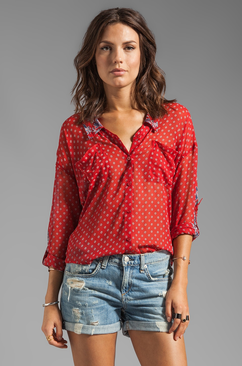 Free People Printed Easy Rider Button-down in Red Combo