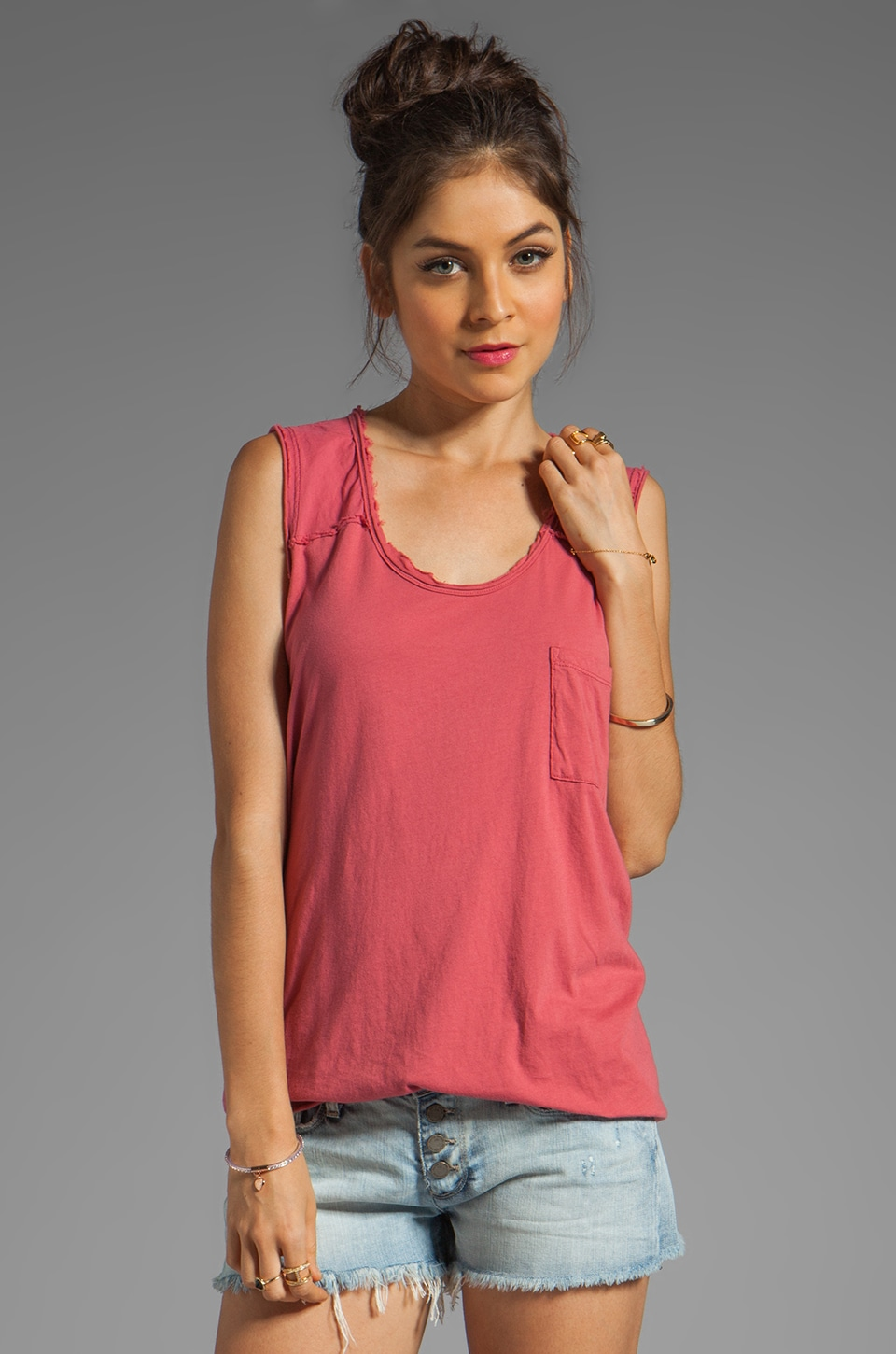 Free People Round the World Tee in Rouge