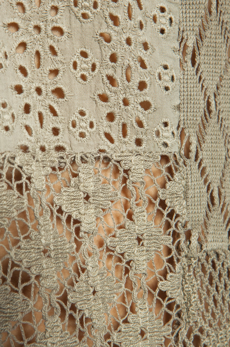 Free People Patches of Lace Henley in Olive