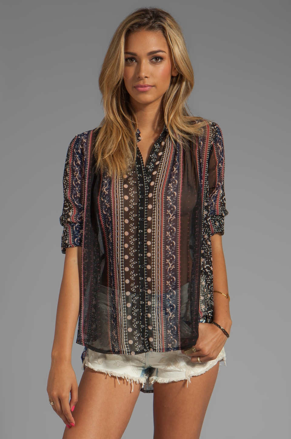 Free People Moonlight Mile Woven Top in Black Combo