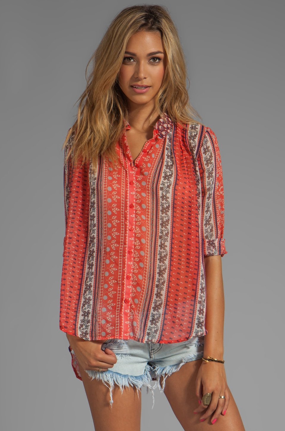 Free People Moonlight Mile Woven Top in Hot Coral Combo