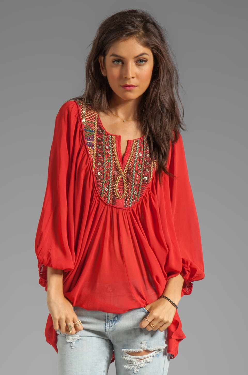 Free People Fortune Teller Top in Red Combo