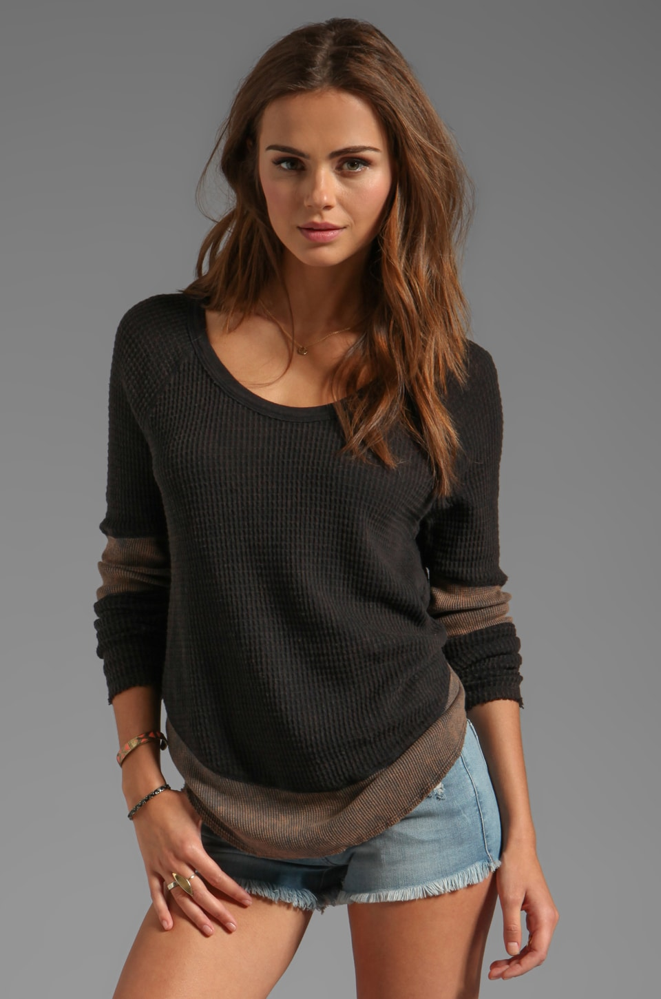 Free People Diamond Dozen Thermal in Black Combo