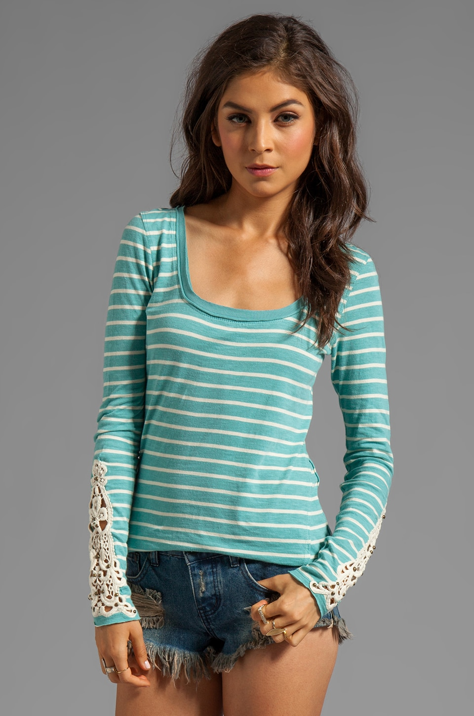 Free People Hard Candy Cuff Top in Blue Combo
