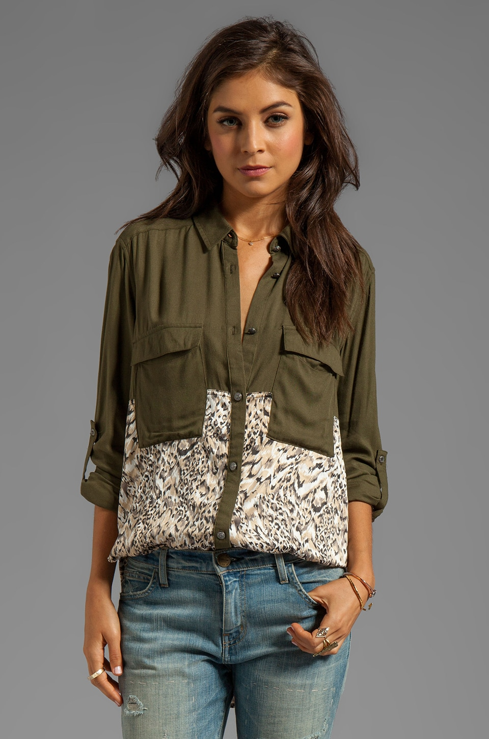 Free People Welcome to the Jungle Top in Army Combo