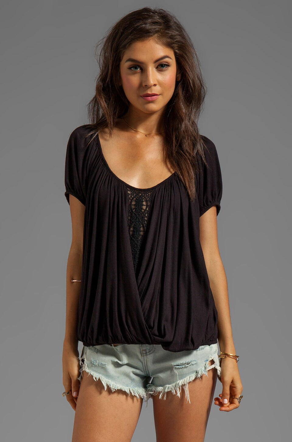 Free People Ann's Ruched Top in Black