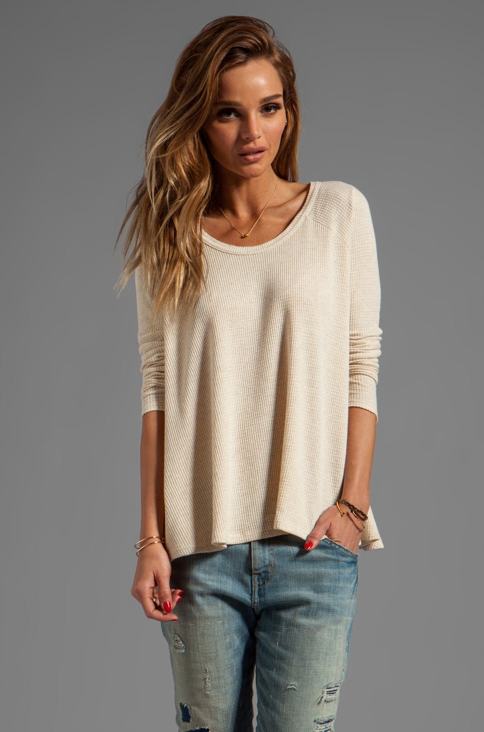 Free People Rockabilly Raglan Thermal in Heather Oatmeal