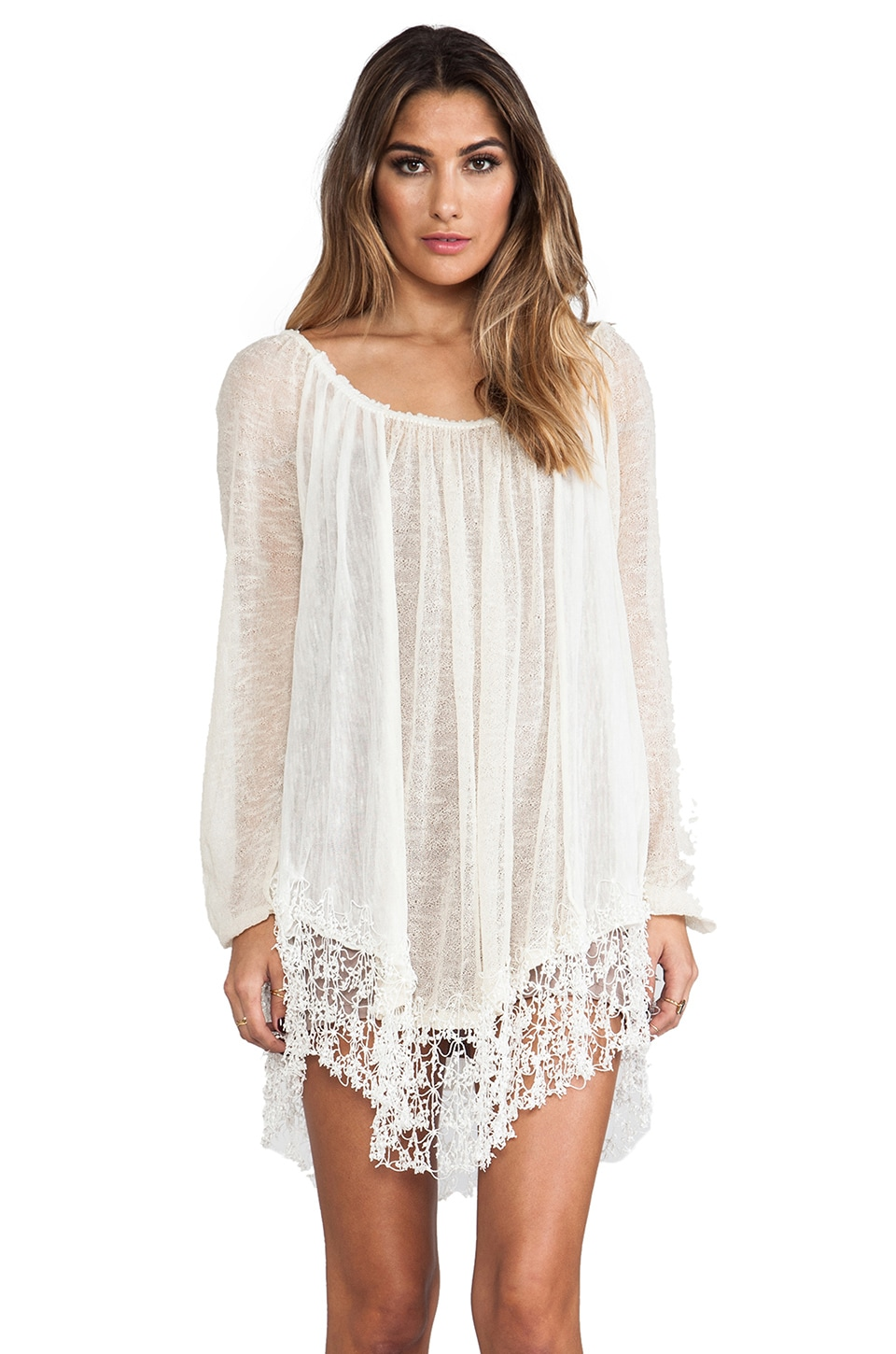 Free People Slip Away Pullover Dress in Ivory Combo