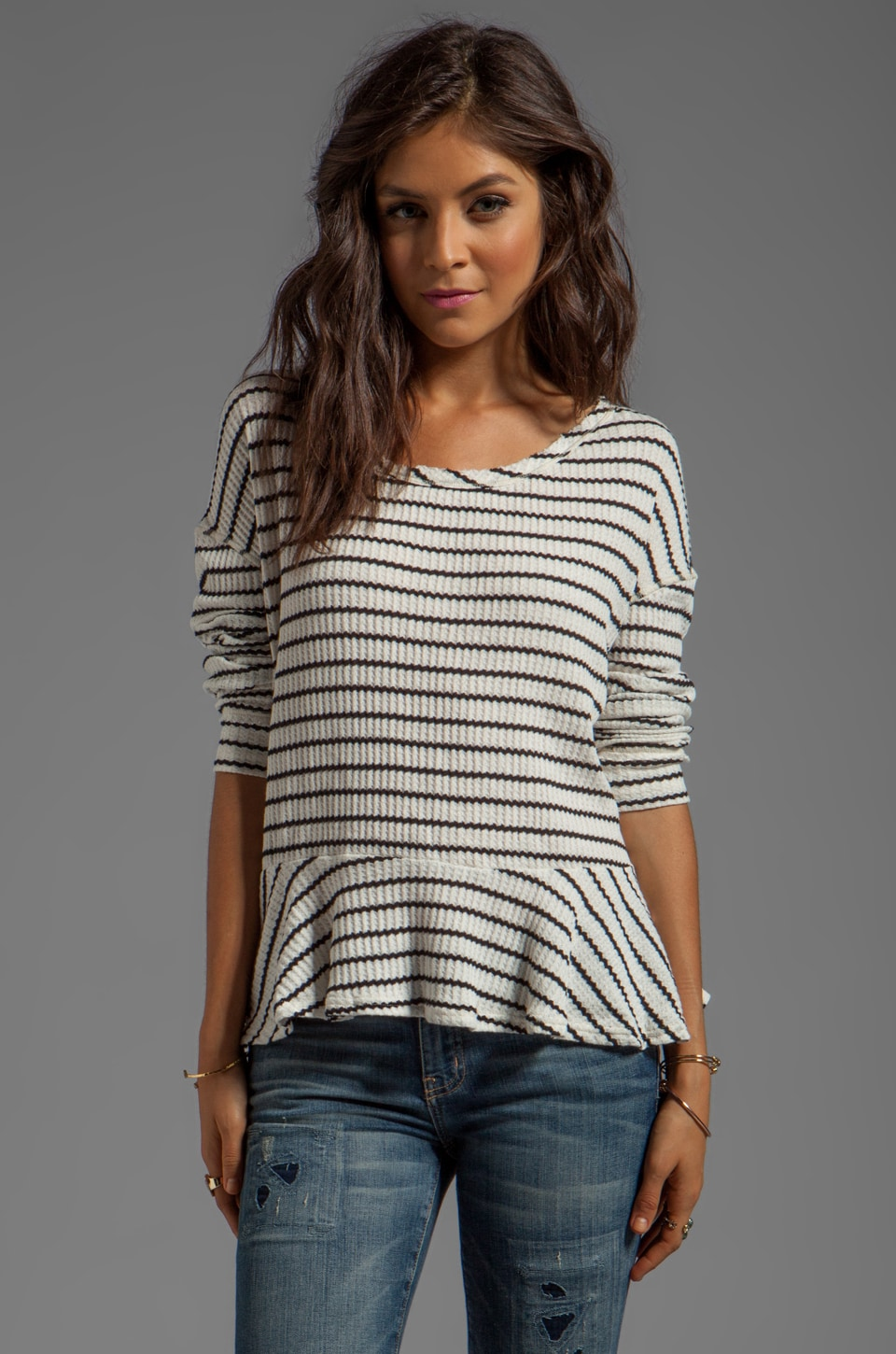 Free People Auntie Em Thermal in Ivory Combo