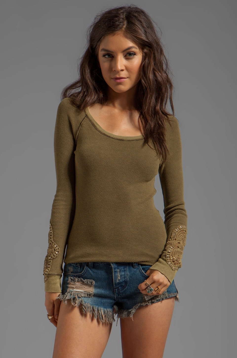 Free People Synergy Cuff Thermal in Army Green