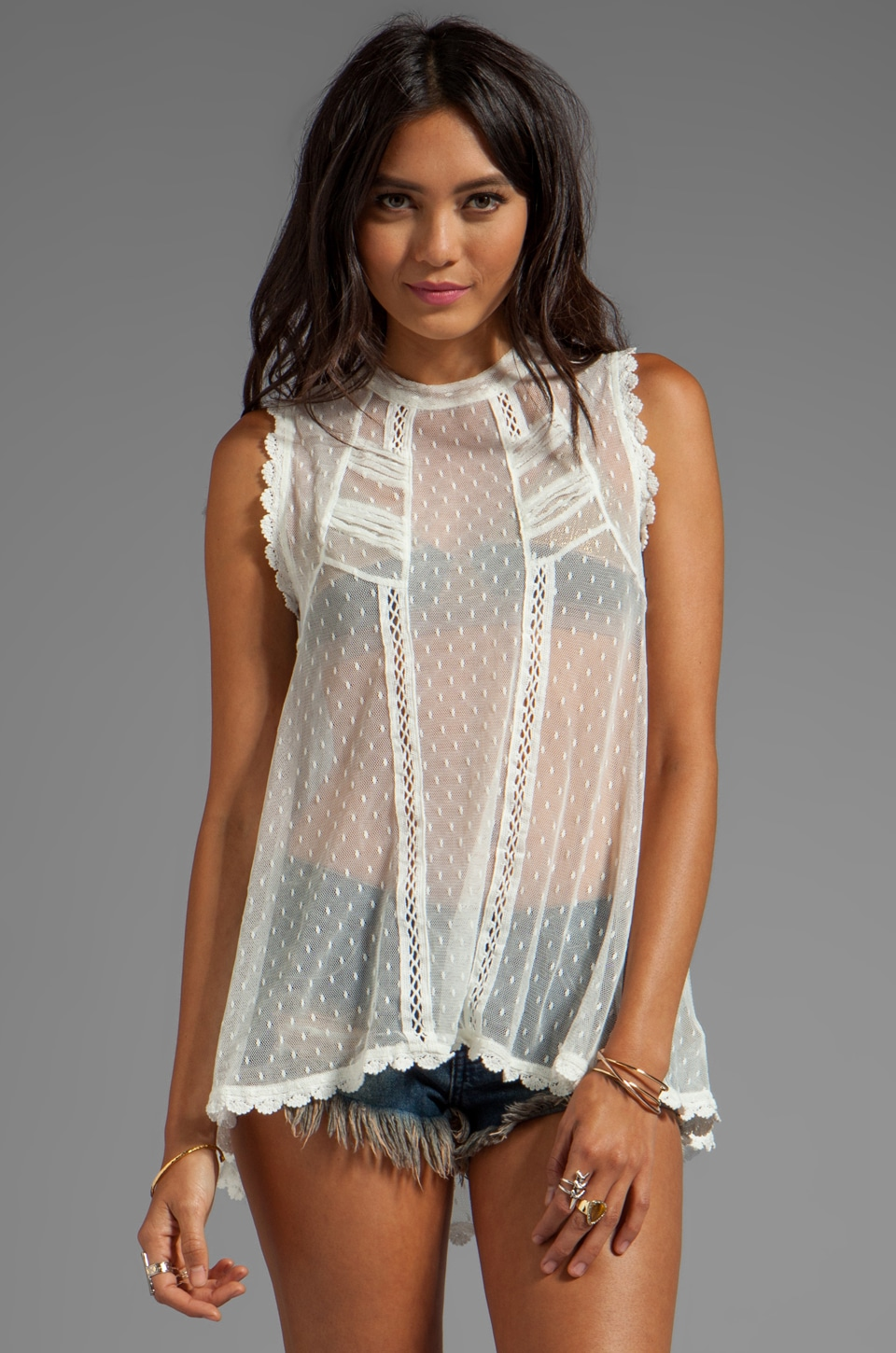 Free People Fiona's Victorian Mesh Top in Ivory