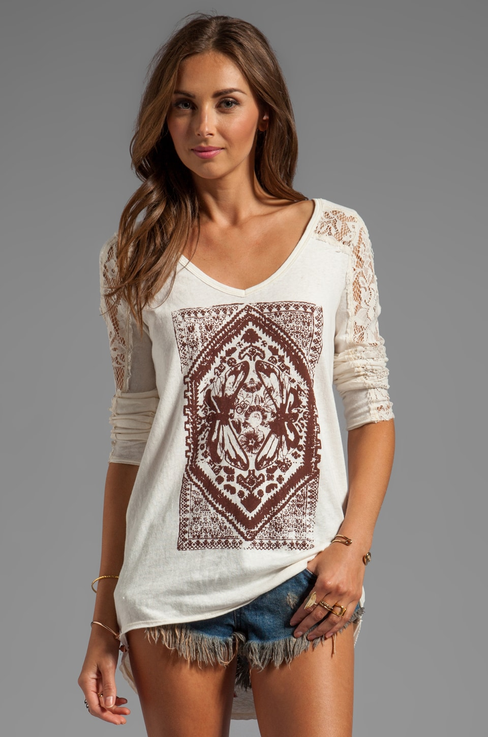 Free People Lady in Lace Graphic Top in Ivory Combo