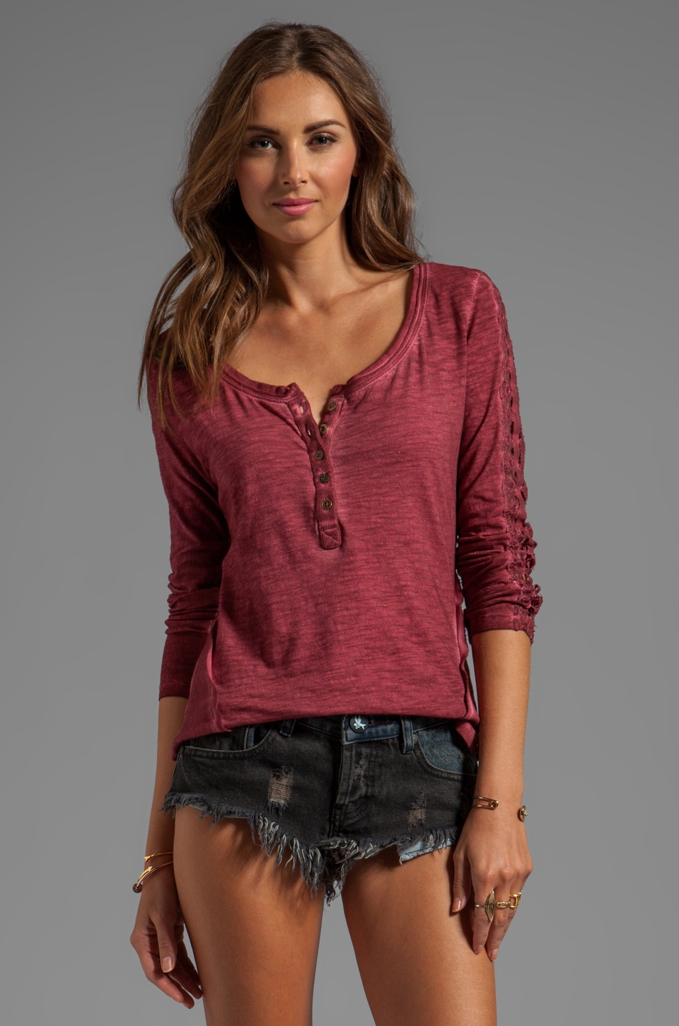 Free People Shell Stitch Lace Top in Deep Red