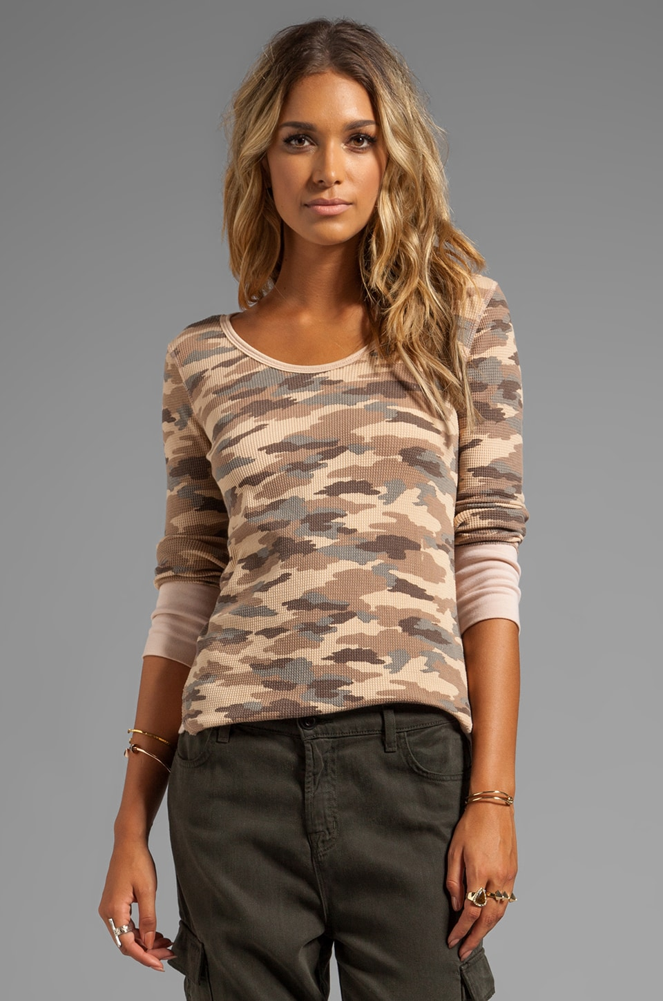 Free People Printed Thermal in Sand Combo
