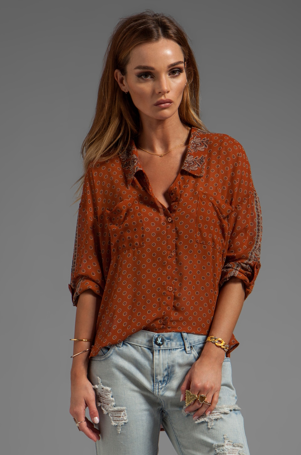Free People Printed Easy Rider Button Down in Rust Combo
