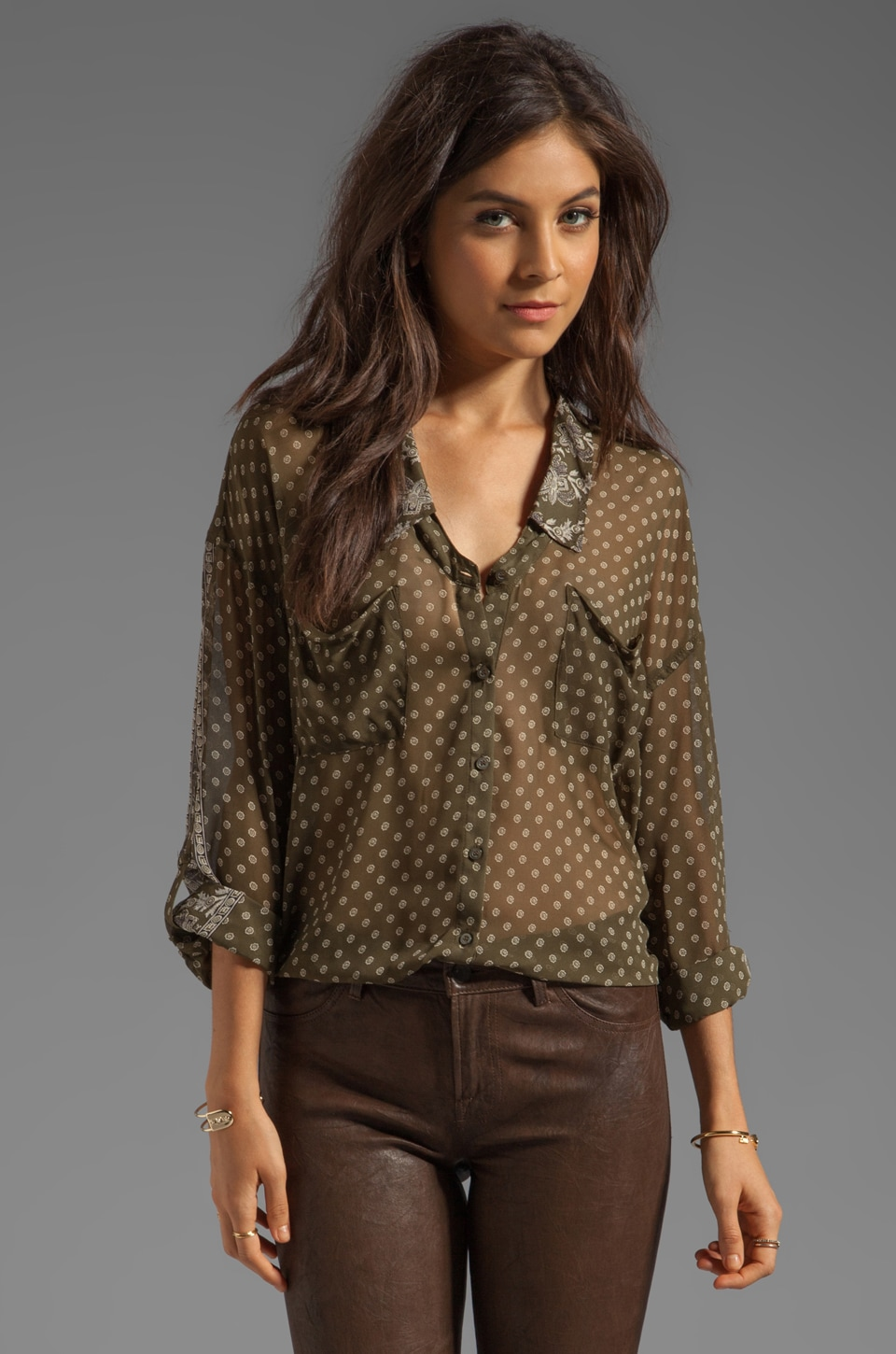 Free People Printed Easy Rider Button Down in Army Combo