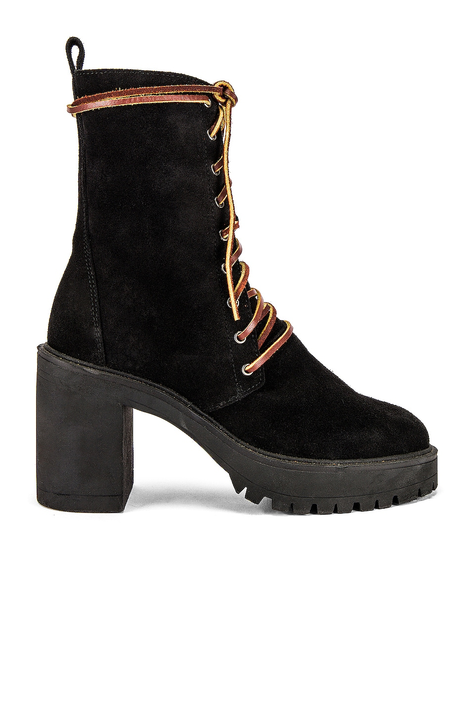 Free People Dylan Lace Up Boot in Black