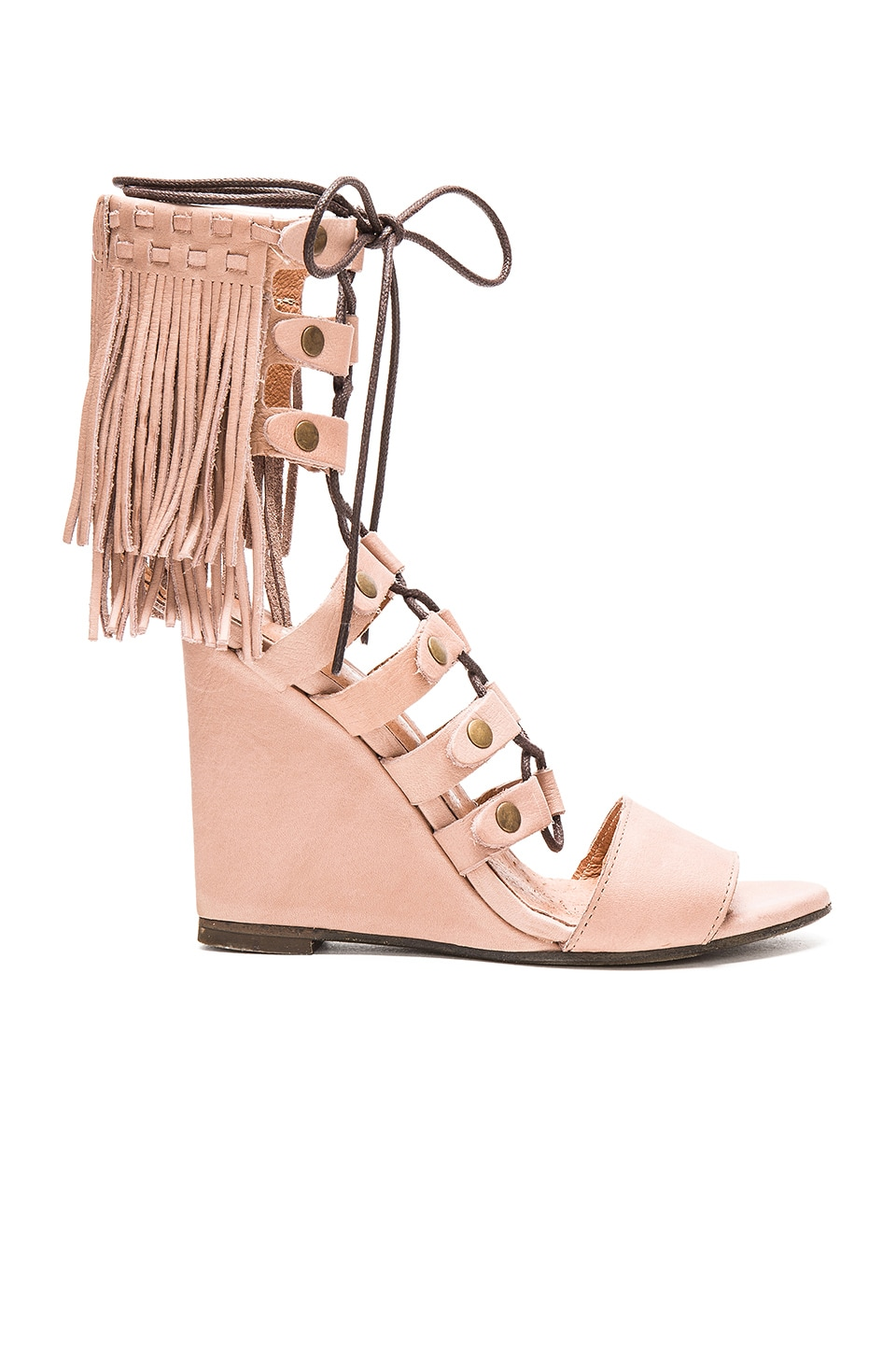 Free People Solstice Fringe Wedge in Blush