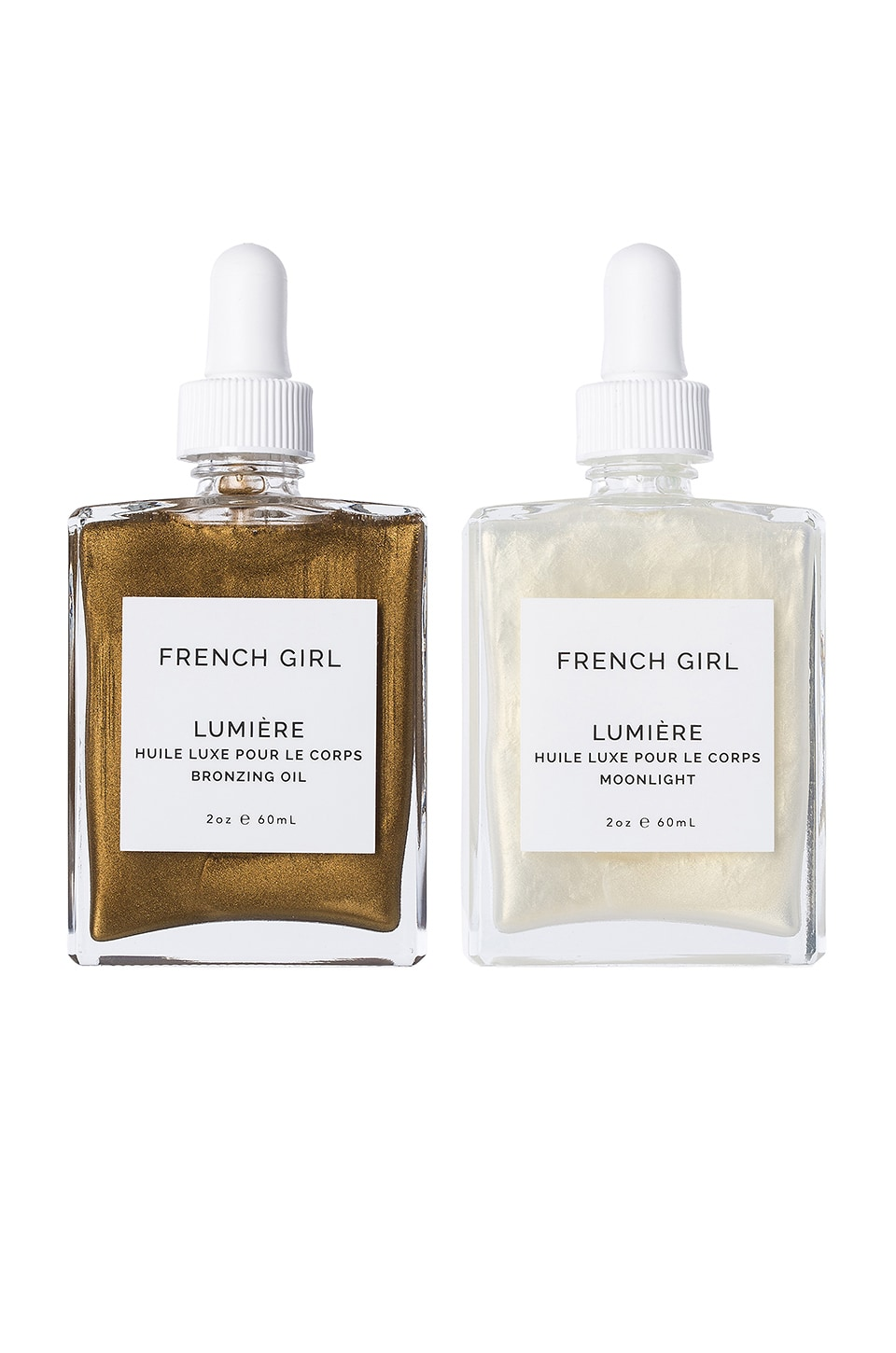 French Girl Organics Lumiere Body Oil Duo in Moonlight & Bronzing