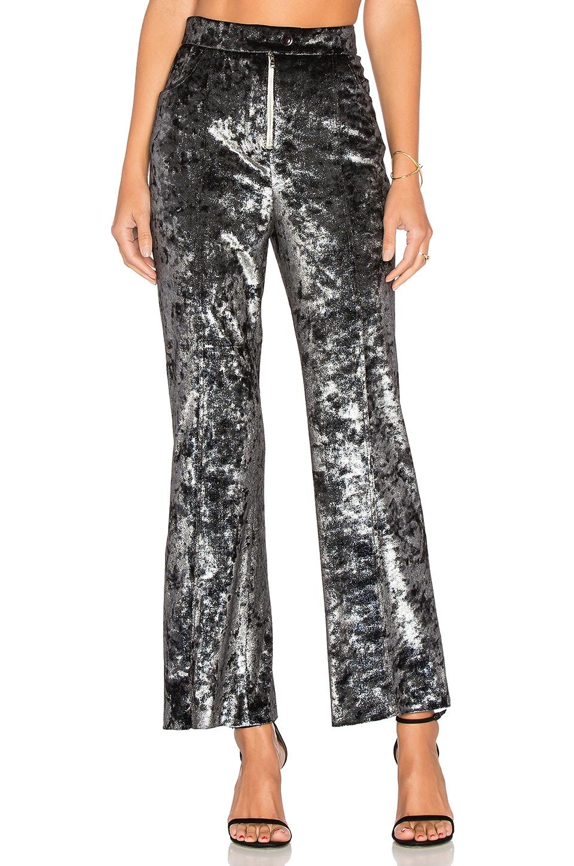 Frankie Velvet Flare Pant in Silver