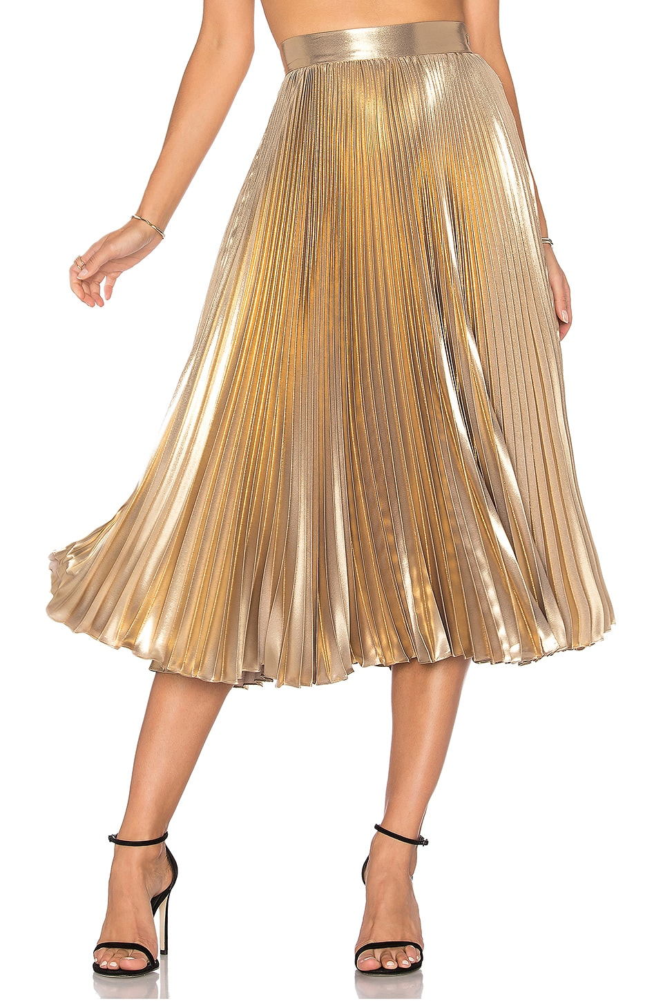 Frankie Pleated Skirt in Light Gold | REVOLVE