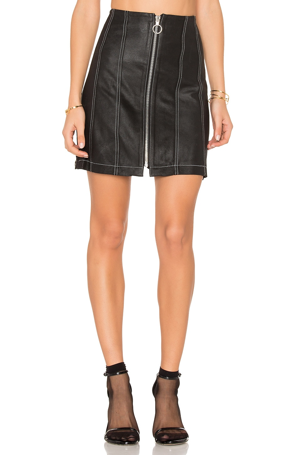 Leather Stitched Skirt by Frankie