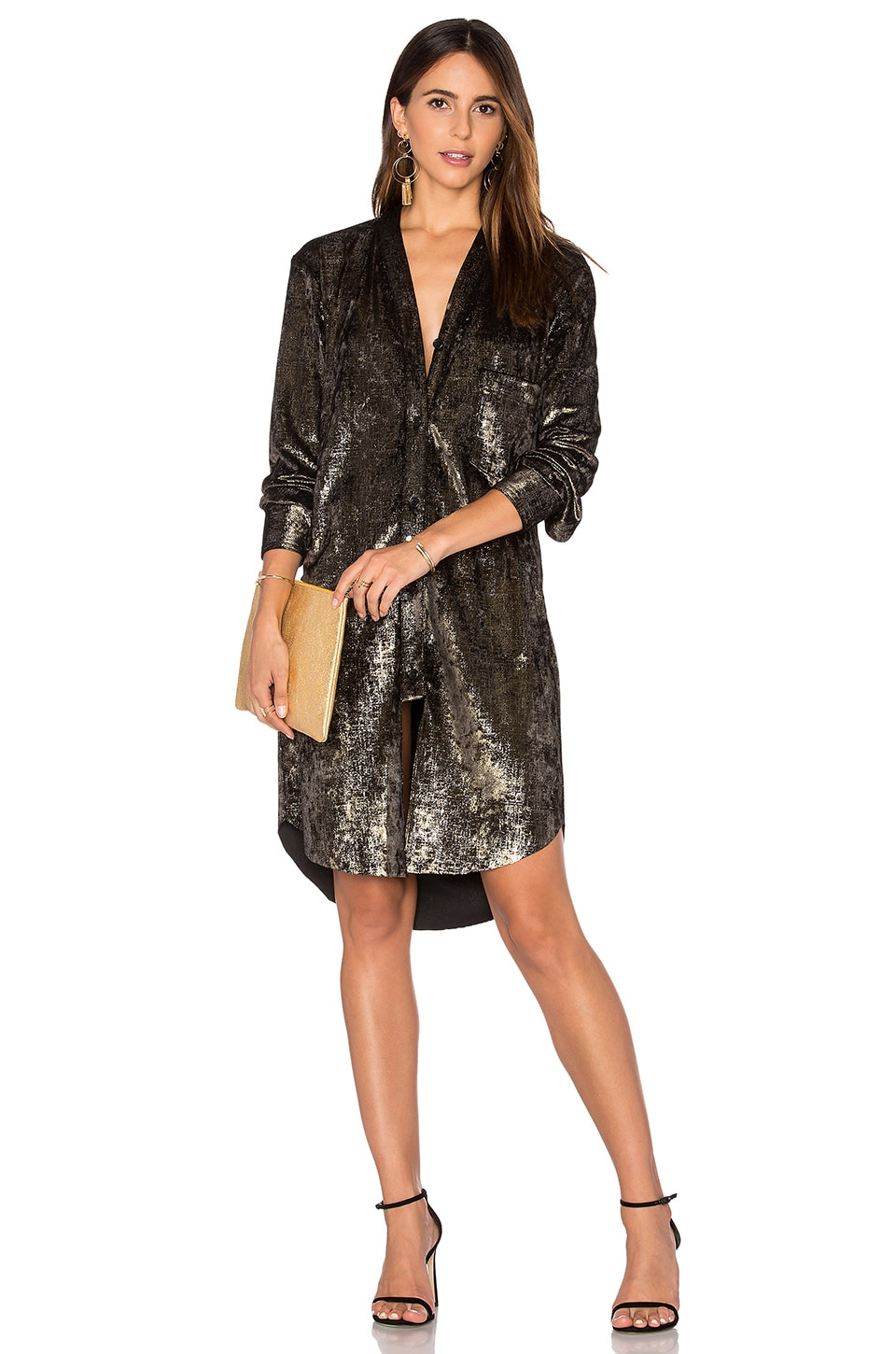Frankie Velvet Shirt Dress in Gold