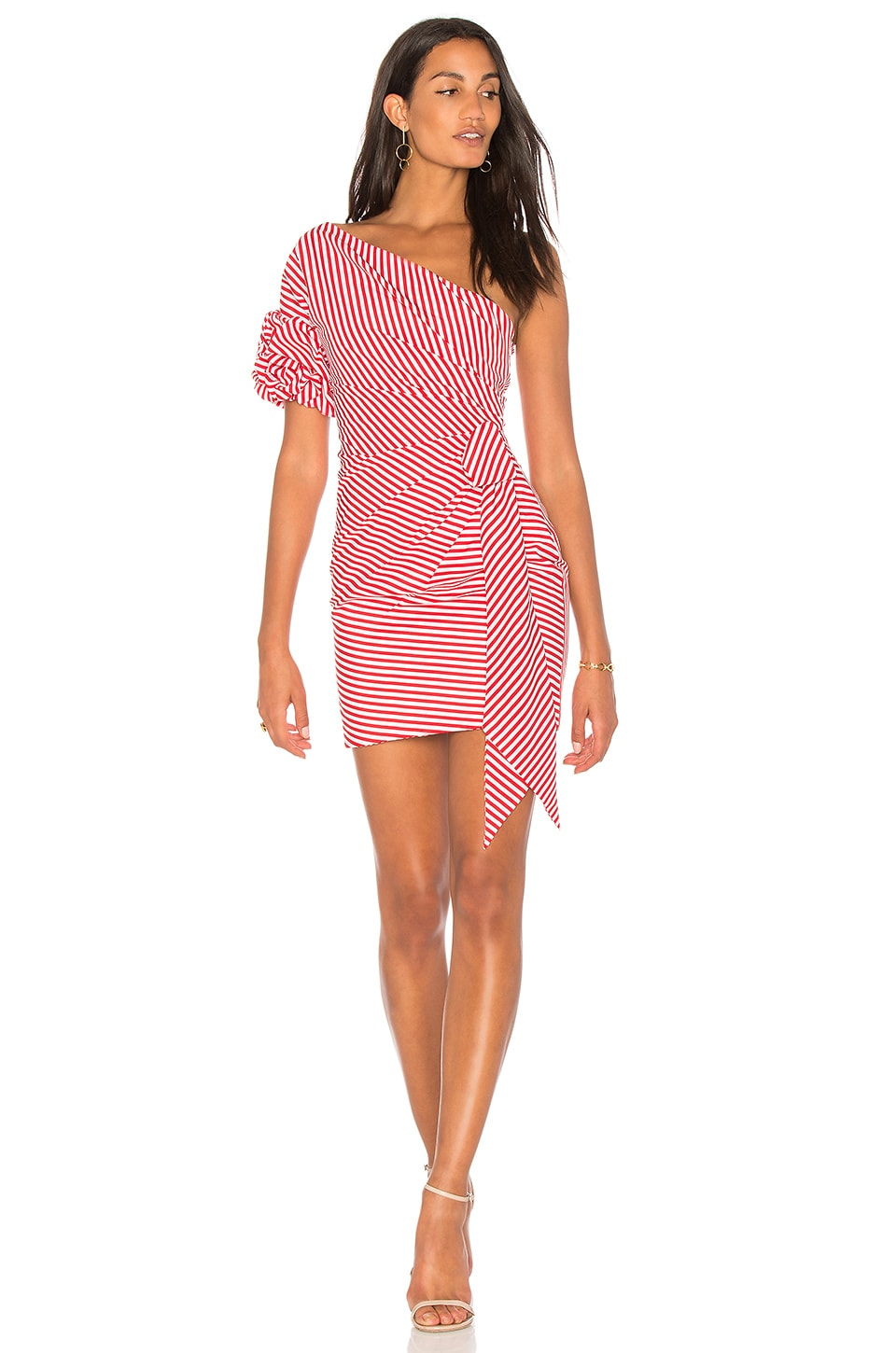 FAME AND PARTNERS x Revolve Stripe Dress in Red & White