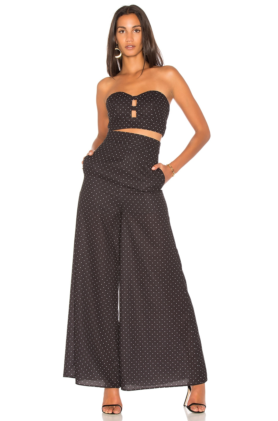FAME AND PARTNERS x Revolve Strapless Jumpsuit in Micro Dot