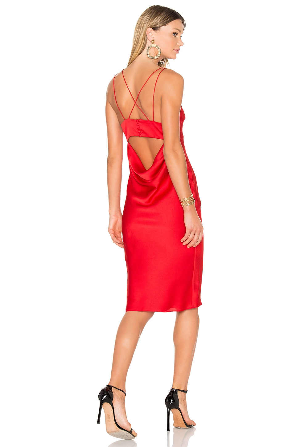 FAME AND PARTNERS X REVOLVE Ziv Midi Dress in Cherry Red