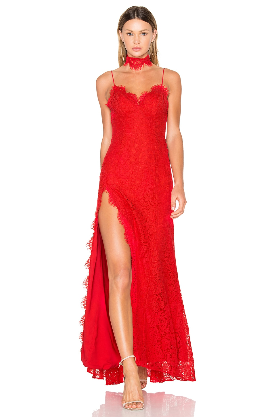 FAME AND PARTNERS X REVOLVE Everett Lace Maxi Dress in Cherry Red
