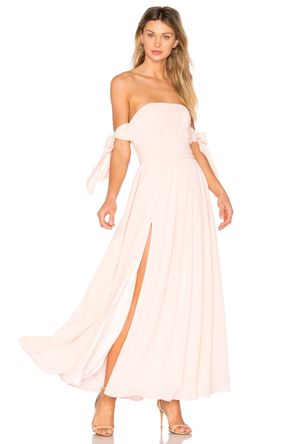 X REVOLVE Sandra Maxi Dress in Pale Link by Fame And Partners