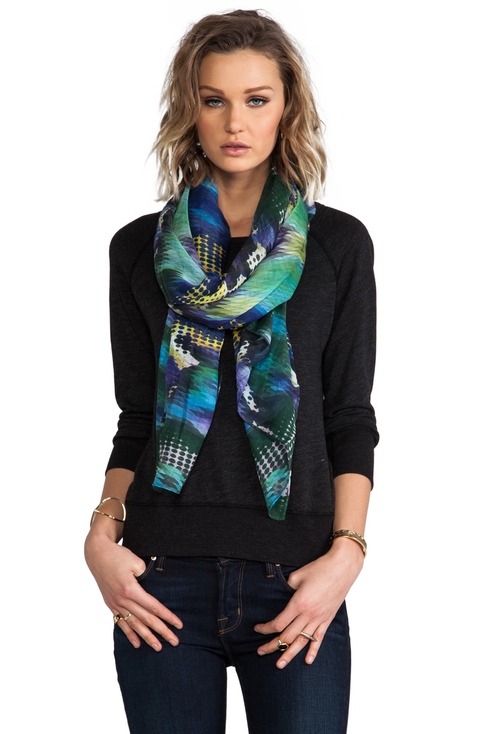 FRONT ROW SOCIETY Cashmere Blend Scarf in Black Sea Devil
