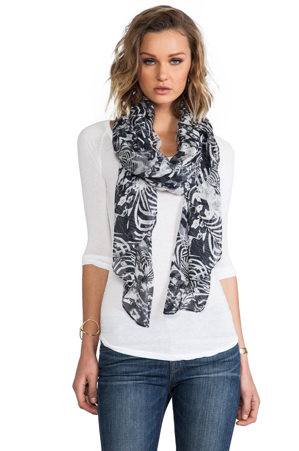 FRONT ROW SOCIETY Cashmere Blend Scarf in Zebra