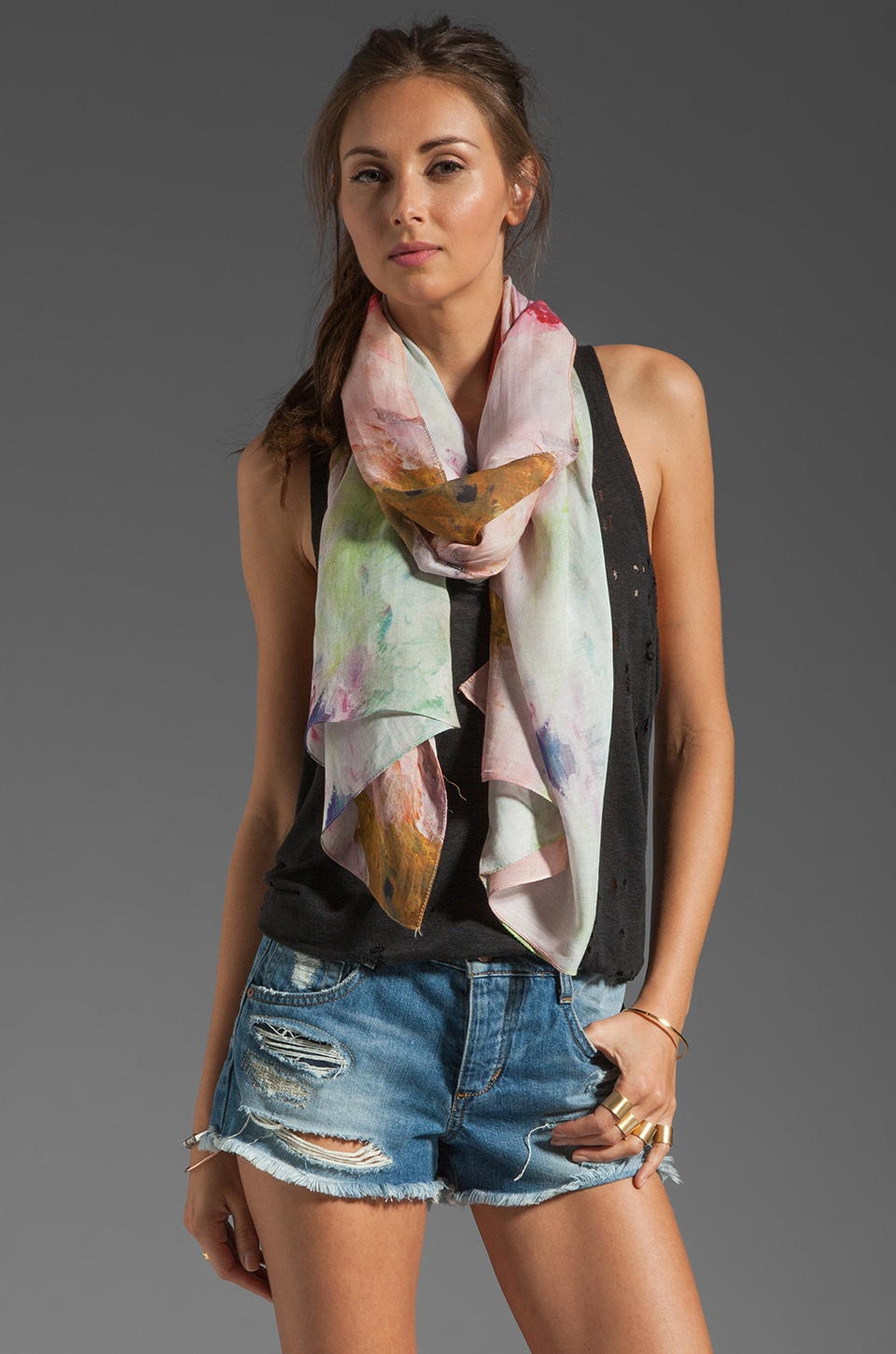 FRONT ROW SOCIETY Fleur Peinte Scarf in Multi