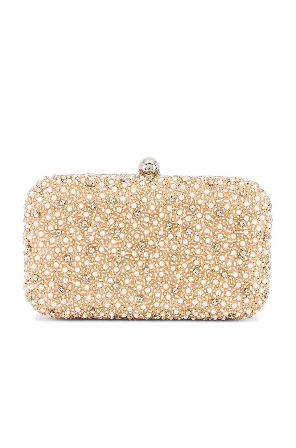 From St Xavier Mini Pearl Box Clutch in Champagne