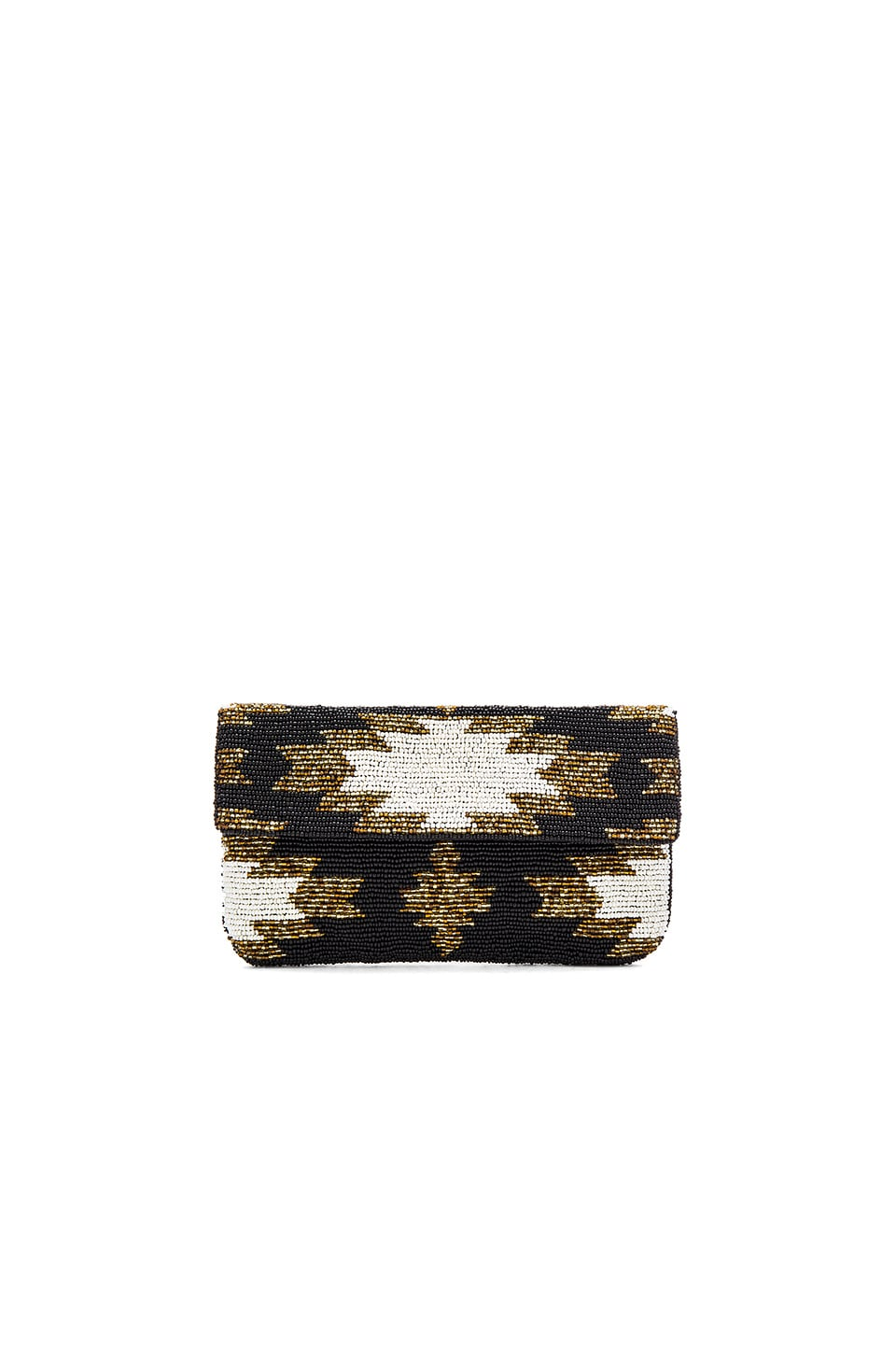 From St Xavier Ayla Clutch in Black & Ivory