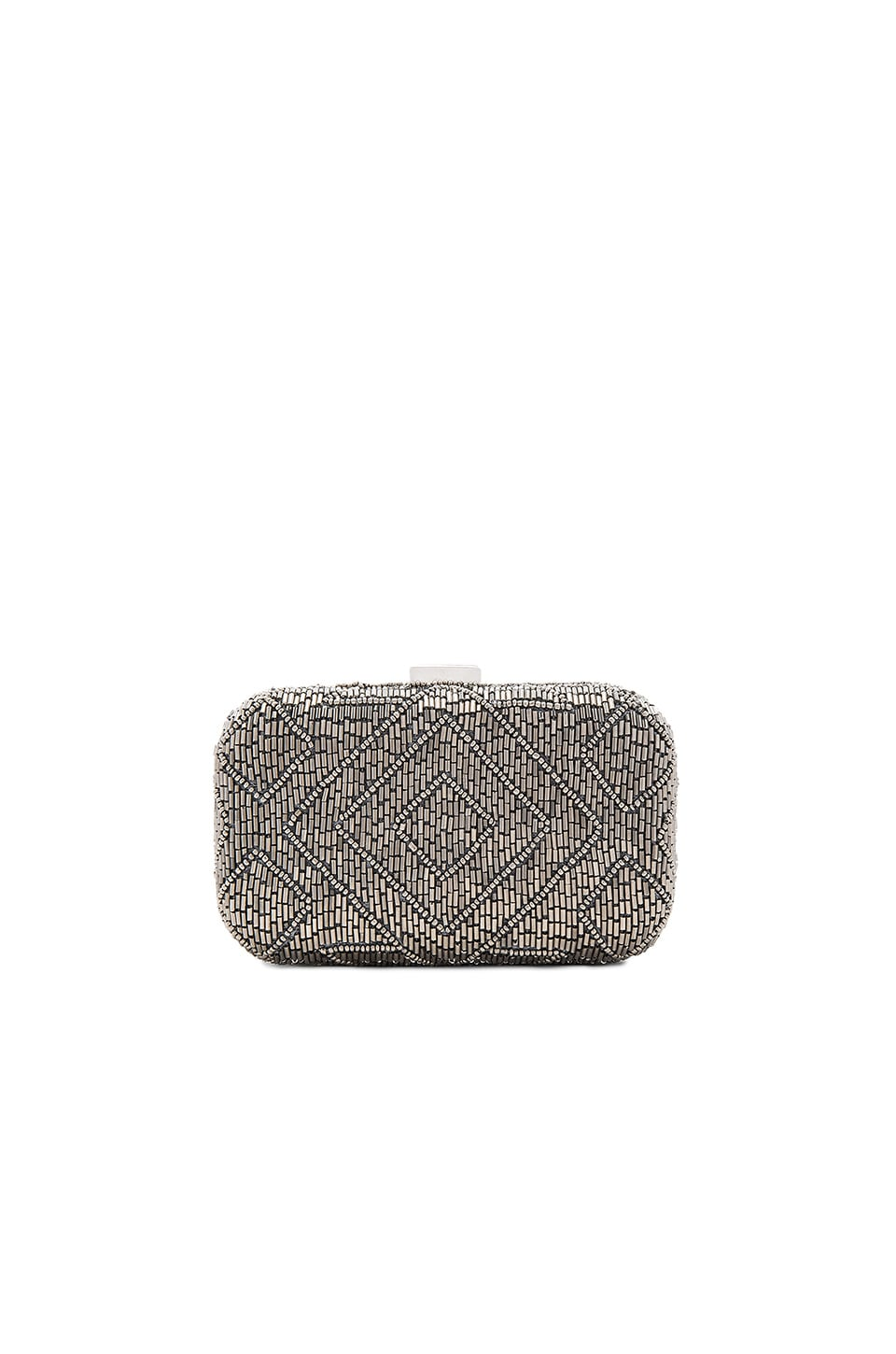 From St Xavier Hayley Box Clutch in Silver