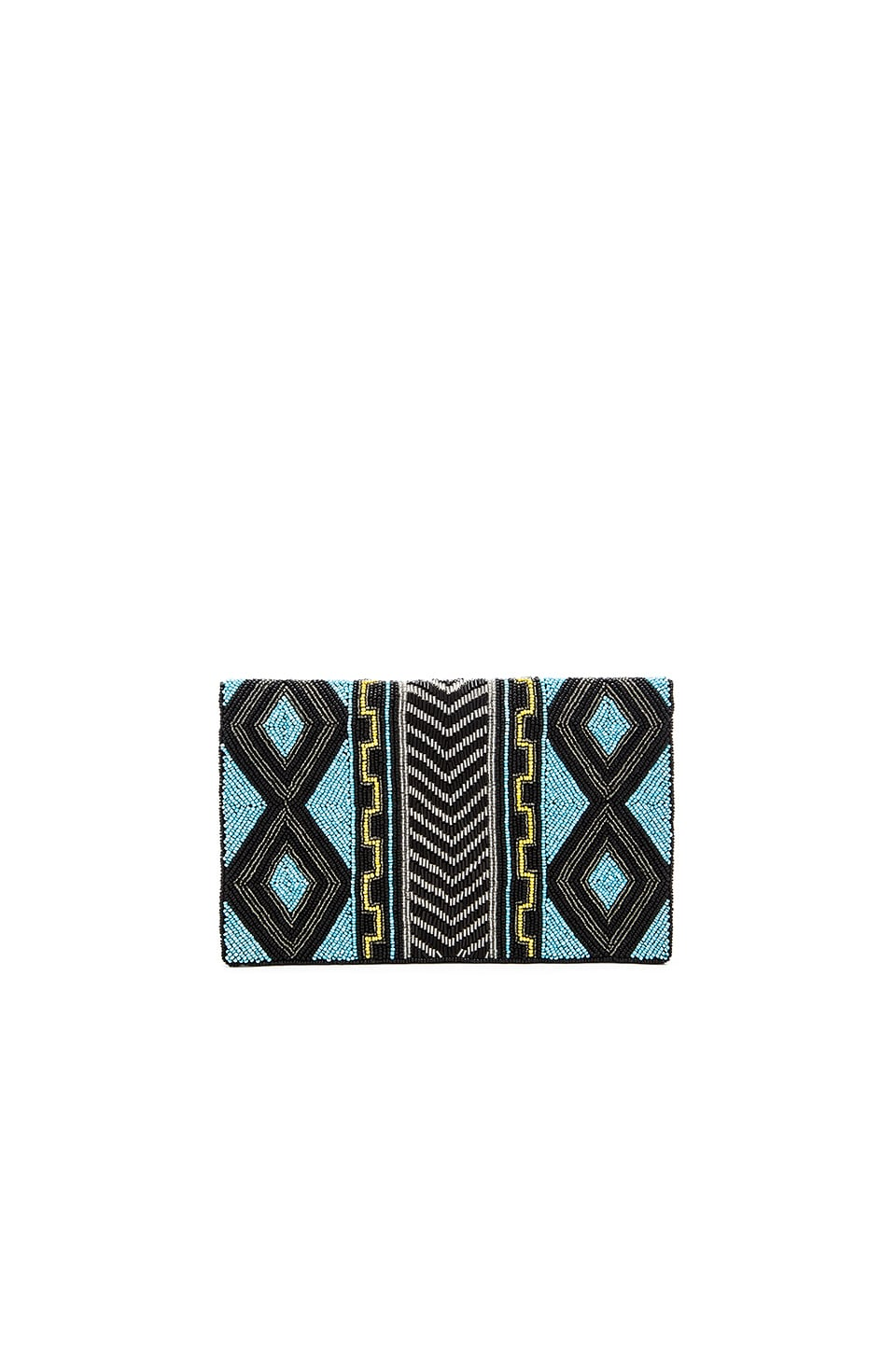 From St Xavier Akua Clutch in Black & Turquoise