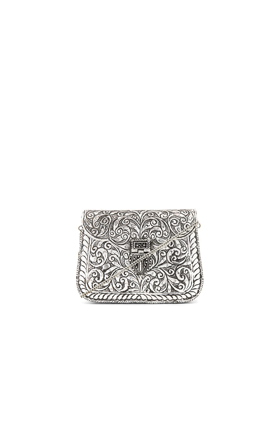 From St Xavier Atria Clutch in Silver