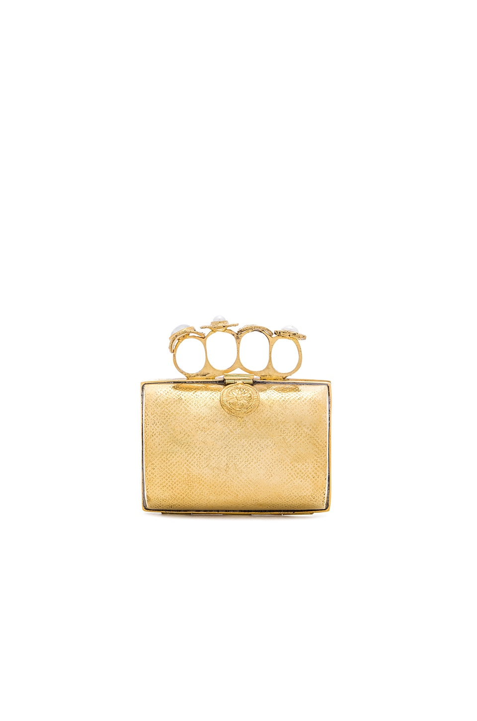 From St Xavier Bella Clutch in Gold & Pearl