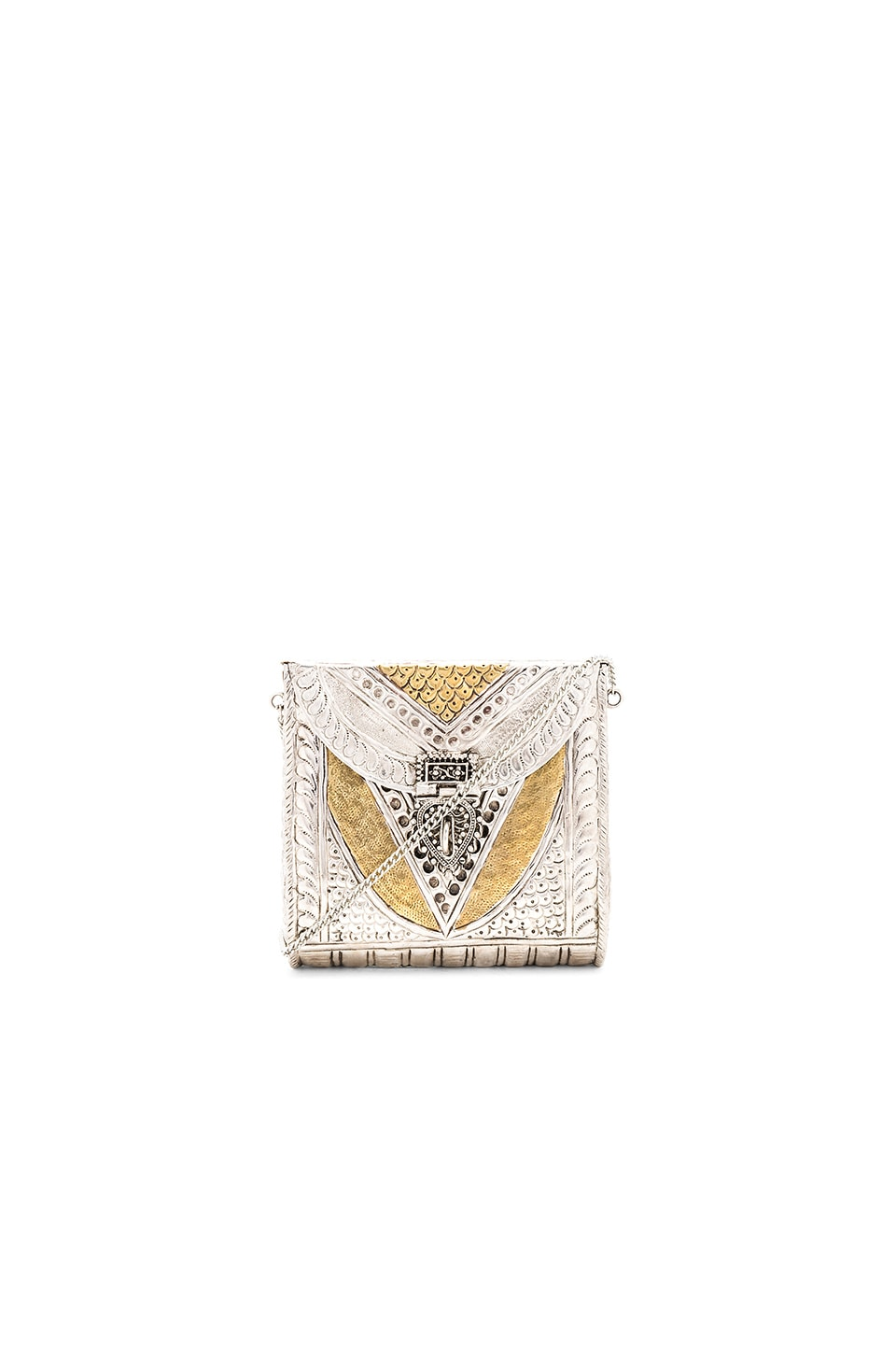 From St Xavier Munro Clutch in Gold & Silver