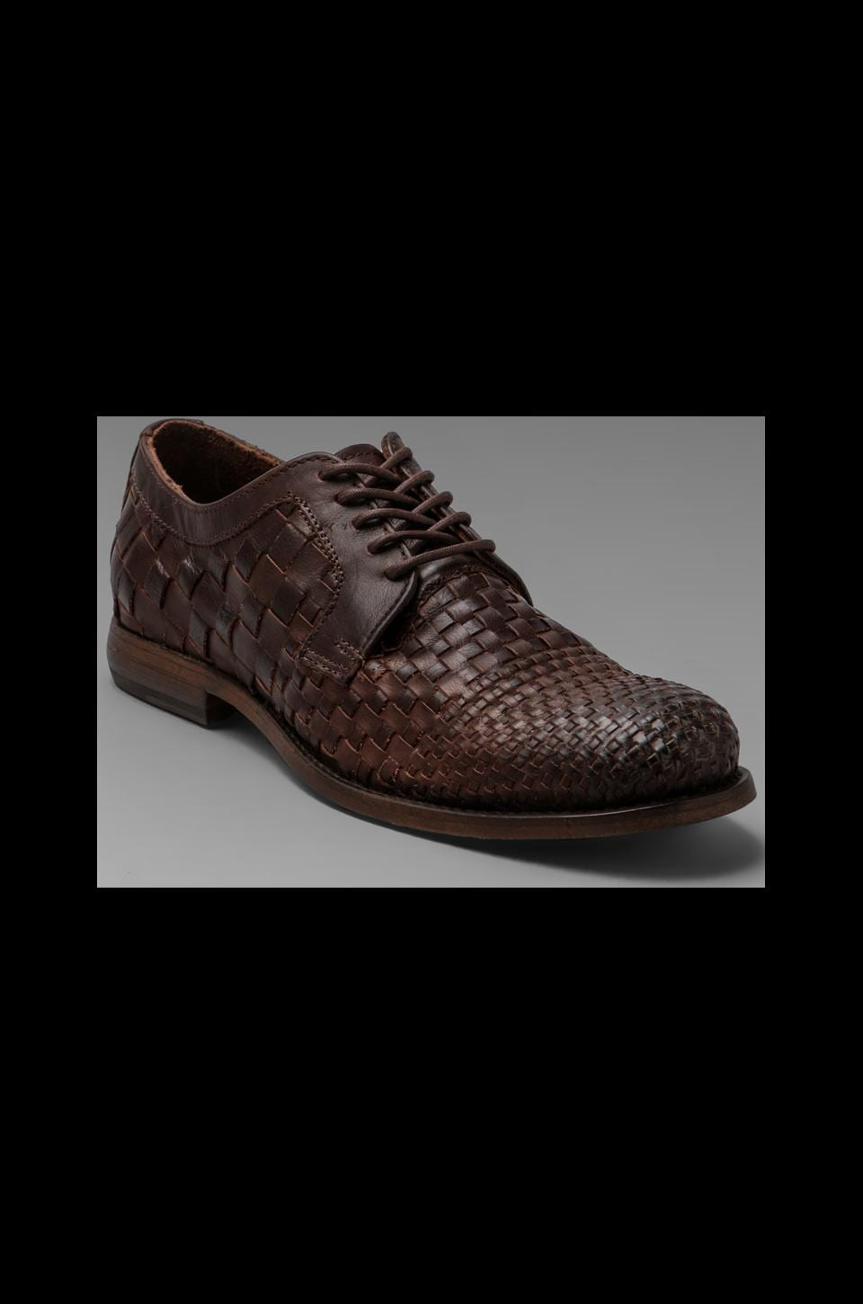 Frye Manny Woven Oxford in Dark Brown