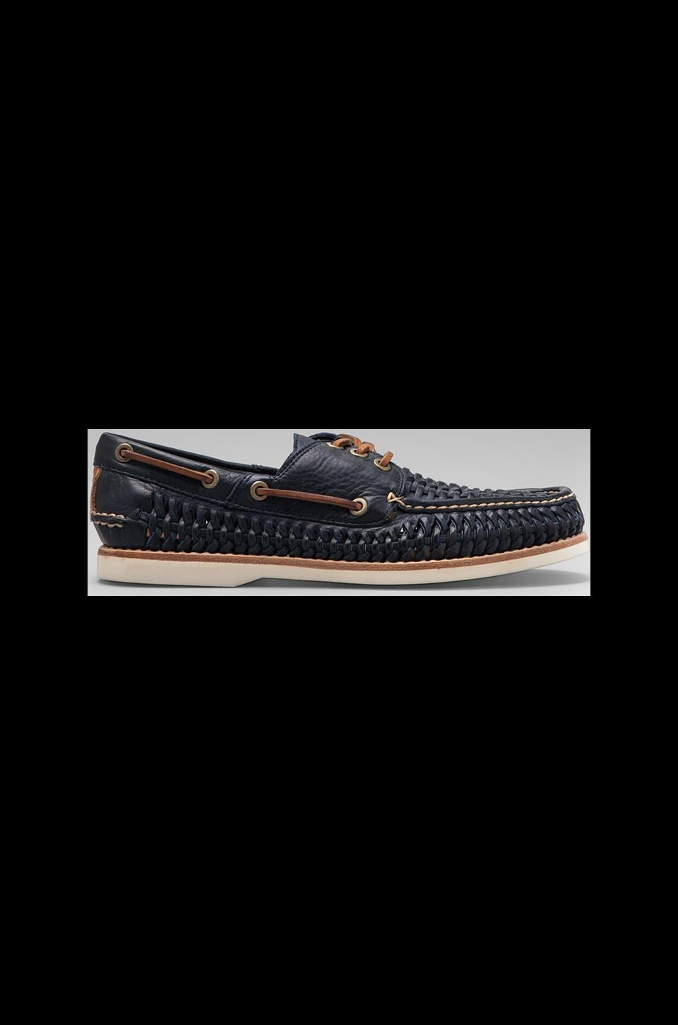 Frye Sully Woven Boat Shoe in Navy