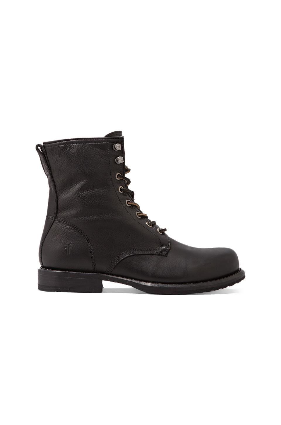 Frye Wayde Combat Boot in Black Soft Vintage Leather