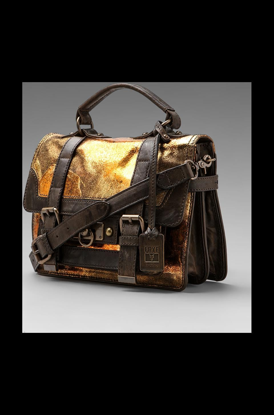 Frye Cameron Small Satchel in Metallic Cracked Gold