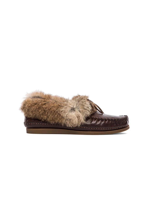 Frye Mason Cuff Slipper with Rabbit Fur and Sheep Shearling in Dark Brown