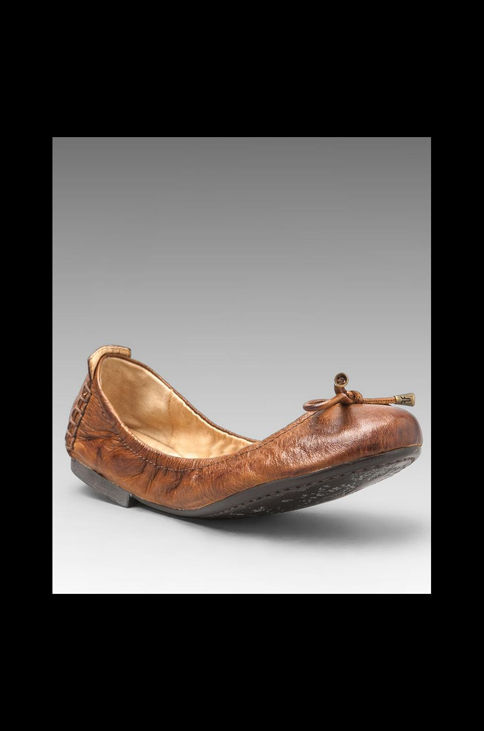Frye Collapsible Carson Ballet in Cognac