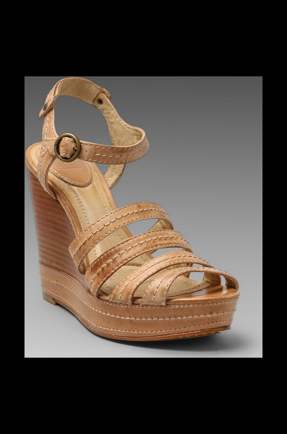 Frye Corrina Stitch Wedge Sandal in Sand